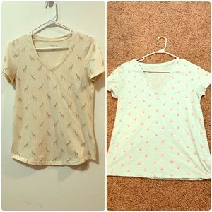 2 for 1 Giraffe and Flamingo Tshirts Size S and L